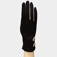 Fleeced Color Accented Button Smart Gloves