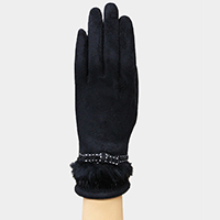 Fur Trimmed Faux Suede Smart Gloves