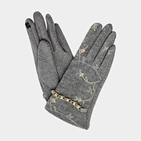 Pearl Chain Detailed Embroidery Smart Gloves