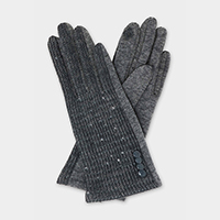 Button Accented Sequin Smart Gloves