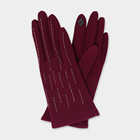 Tiny Stone Embellished Smart Gloves