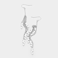 Multi Metal Mermaid Drop Chain Dangle Earrings
