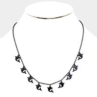 Multi Metal Dolphin Stationed Necklace