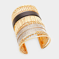 Wide Round Crystal Pave Leather Chain Cuff Bracelet