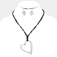 Metal Heart Pendant Cord Necklace