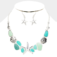 Sea Glass Metal Starfish Sand Dollar Shell Coral Necklace
