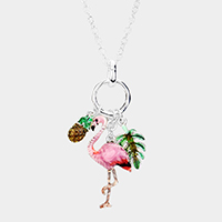 Flamingo Pineapple Tropical Leaf Pendant Long Necklace