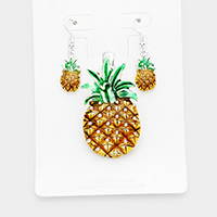 Enamel Pineapple Metal Magnetic Pendant Set