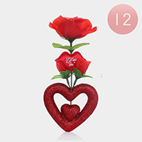 12PCS - I Love You Valentine's Heart Flower Display Stand