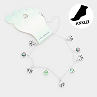 Metal Shell Abalone Disc Charm Anklet
