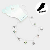 Metal Turtle Abalone Disc Charm Detail Anklet