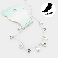 Metal Sand dollar Abalone Disc  Charm Anklet