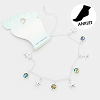 Metal Starfish Abalone Disc  Charm Anklet