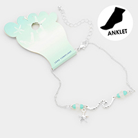 Metal Starfish Charm Sea Glass Detailed Anklet