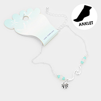 Metal Shell Charm Sea Glass Anklet