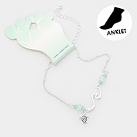 Metal Turtle Charm Sea Glass Detailed Anklet