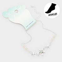 Abalone Starfish Charm Bead Detailed Anklet