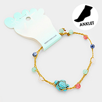 Turtle Bead Stationed Braided Thread Anklet