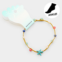 Starfish Bead Stationed Braided Thread Anklet