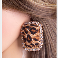 Crystal Trimmed Fabric Leopard Textured Rectangular Earrings