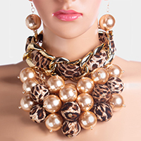 Multi Fabric Pearl Ball Clustered Chain Linked Choker Collar Necklace