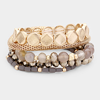 5PCS - Textured Metal Disk Mixed Beaded Stretch Bracelets