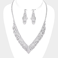 Crystal Round Rhinestone Pave  Necklace