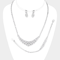 3PCS -  Crystal Rhinestone Pave Necklace Set