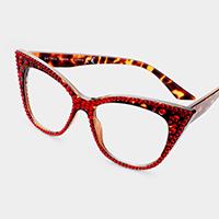 9e28d7ba0f14 Crystal Cat Eye Clear Optical Lens Glasses