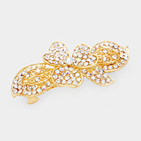 Flower Accented Crystal Rhinestone Pave Barrette