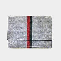 Crystal Embellished Color Block Clutch Bag