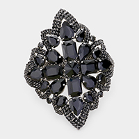 Oversized Crystal Cluster Pave Trim Evening Bracelet