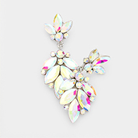 Crystal Marquise Ornate Floral Evening Earrings