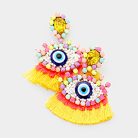 Multi Color Seed Bead Evil Eye Tassel Earrings