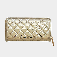 Metallic Quilted  Zipper Closure Wallet