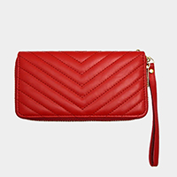 Quilted Faux Leather Zipper Closure Wallet