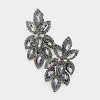 Pave Trim Crystal Rhinestone Oval Clustered Clip On Earrings