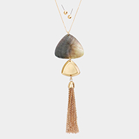 Abstract Abalone Tassel Pendant Necklace