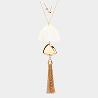 Abstract Mother of Pearl Tassel Pendant Necklace
