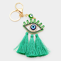Crystal Pave Evil Eye Triple Tassel Key Chain