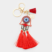 Hamsa Evil Eye Metal Coin Triple Tassel Key Chain
