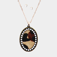Crystal Pave Genuine Leather Oval Tiger Pendant Necklace