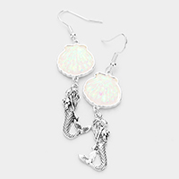 Shimmery Shell Metal Mermaid Dangle Earrings