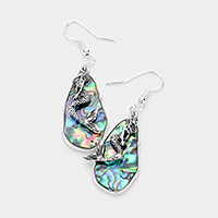 Abstract Abalone Metal Mermaid Dangle Earrings