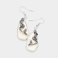 Abstract Mother of Pearl Metal Mermaid Dangle Earrings