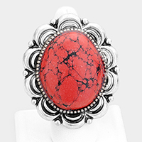 Oval Red Coral Tribal Metal Stretch Ring