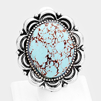 Oval Turquoise Tribal Metal Stretch Ring