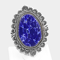 Abstract Lapis Lazuli Tribal Metal Stretch Ring
