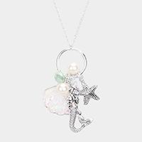 Metal Sea Life Pearl Charm Pendant Long Necklace