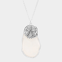 Abstract Mother of Pearl Sand Dollar Pendant Long Necklace